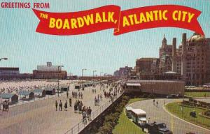 New Jersey Atlantic City Greetings From The Boardwalk View Showing The Beach