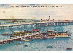 P1755  vintage dock, bridge & atlantic ocean,boats st augustine florida