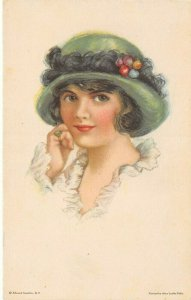 LP32  Artist Signed Fidler Postcard  Woman American Girl No.71 Green Hat Hatpin