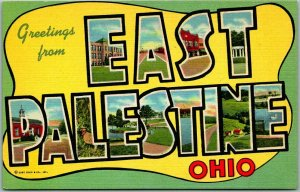 Greetings from EAST PALESTINE, Ohio Large Letter Postcard Curteich Linen c1940s