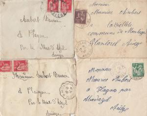 Ariege France 8x WW2 French Letters & Postmark Frank War Envelope s
