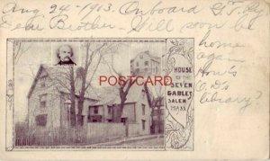 pre-1907 HOUSE OF SEVEN GABLES, SALEM, MASS. 1903 Hawthorne inset