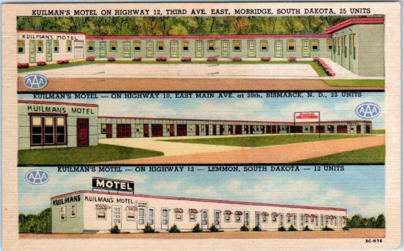 Roadside Kuilman S Motel Multi View Mobridge Lemmon Sd Bismarck Nd 1953