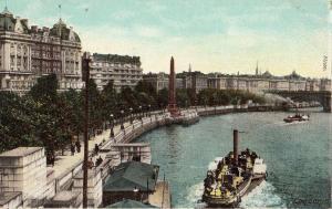 London Thames embankment navigation early postcard