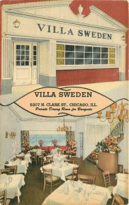 Chicago Illinois Villa Sweden Restaurant Interior 1940s Postcard Teich 6461