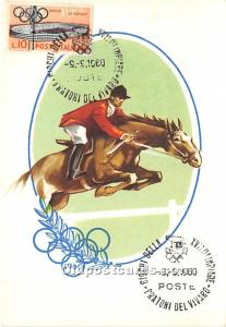 Horsemanship, 1960 Olympics 1960 Stamp on front