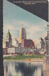 Ohio Cincinnati Skyline Through Arch Of Suspension Bridge 1950