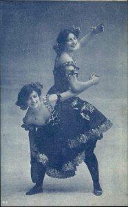 Pretty Women in Dramatic Dresses Dancing c1905 Postcard