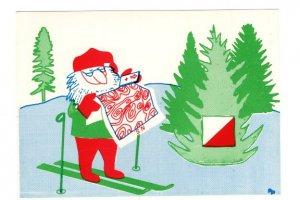 Santa Claus Cross Country Skies, Orienteering Map, Swedish Christmas Postcard