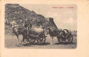 Aden Yemen view of water carts drawn by camels antique pc Y15834
