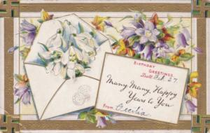 Birthday Greetings With Flowers and Swastika Border 1910