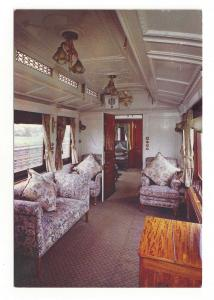 UK Train Royal Saloon Car Interior London North Western Railway RR Postcard