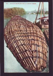 P1642 old unused postcard logging log raft of 8,000,000 feet of oregon timber