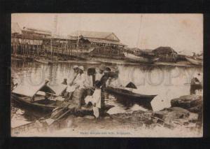 055958 SINGAPORE Malay sampan and boys Vintage PC
