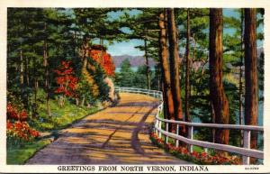Indiana Greetings From North Vernon 1934 Curteich