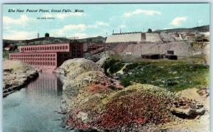 GREAT FALLS, Montana  MT   The NEW POWER PLANT  ca 1910s   Postcard
