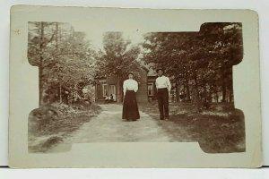 RPPC Unique Spade Border Victorian Man & Woman Dirt Lane at House Postcard H13