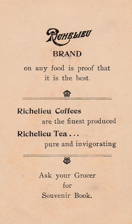 Trade Advertisement Richelieu Brand Coffee and Tea - Pretty Girl picking Flowers
