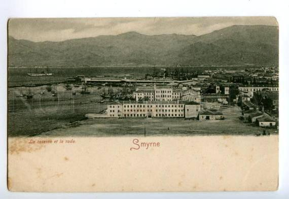 138218 Turkey SMYRNA Smyrne Barracks & Roadstead Vintage PC
