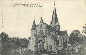 Postcard France Lhutre eglise facade cemetery