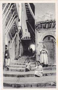 Children Sitting On The Stairs, La Rue Du Chameau, ALGER, Algeria, Africa, 19...