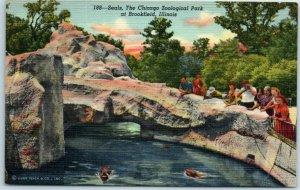 1940s BROOKFIELD ZOO Chicago IL Postcard 188-Seals. Curteich Linen 1B-H1467