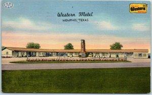 Memphis, Texas Postcard WESTERN MOTEL Highway 287 Roadside Linen 1957 Cancel