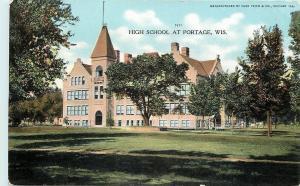 Portage Wisconsin~High School~1910 Postcard