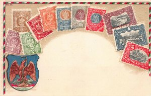 Mexico Stamps on Early Embossed Postcard, Unused, Published by Ottmar Zieher