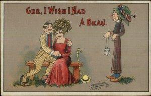 Carmichael Homely Woman Maid WISH I HAD A BEACH 1909 Postcard