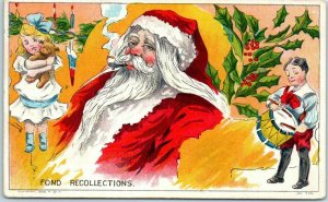 Vintage 1909 Christmas Postcard SANTA CLAUS Smoking Pipe FOND RECOLLECTIONS