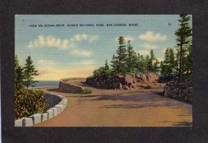 ME Acadia National Park Ocean Drive Bar Harbor Linen Postcard