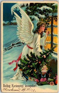 Hungarian CHRISTMAS Postcard Pretty Angel Girl Peeping in Window / 1909 Cancel