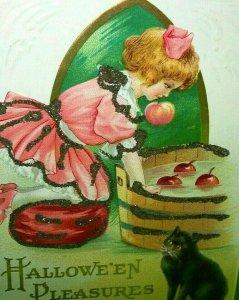 Vintage Halloween Postcard Original Stecher Antique Series 226 B Glitter Cat Art