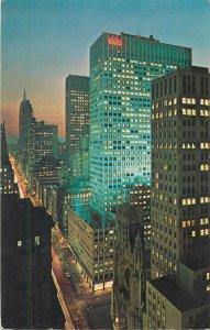 Postcard USA new york city fabulous fifth avenue street night view