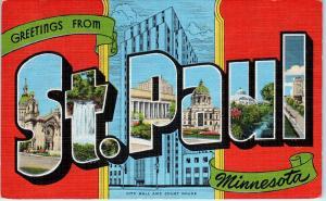 ST PAUL, MN Minnesota  LARGE  LETTER  LINEN   c1940s  Kropp  Postcard