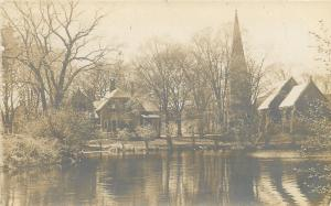 Milford Connecticut~St Peters Episcopal Church~House Next~Rear View~1912 RPPC