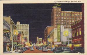 Mississippi Jackson Capitol Street At Night Curteich
