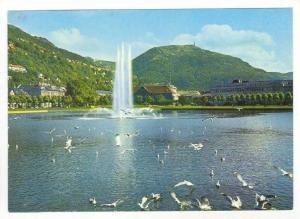 BERGEN, Lille, Lungegardsvann, Fountain, Middle Lake, Norway, 50-70s