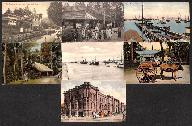 Sri Lanka Ceylon lot 7 vintage postcards