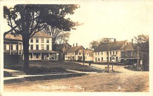 New Sharon ME General Store Gasoline Dirt Street View in 1918 RPPC Postcard