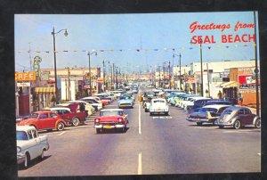 GREETINGS FROM SEAL BEACH CALIFORNIA STREET SCENE CARS VOLKSWAGEN PSOTCARD COPY