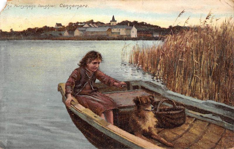 Ireland Connemara The Ferryman's Daughter Girl Boat Pet Dog 1904