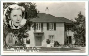 1930s Beverly Hills California RPPC Real Photo Postcard HOME OF IRENE DUNNE