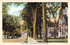 Houlton Maine Main Street Scene Looking West Antique Postcard K12133