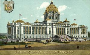 Little Rock, Arkansas, State Capitol, Coat of Arms (1910s) Gold Embossed