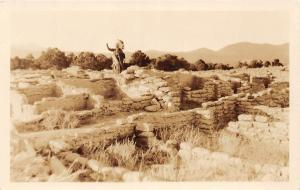 E47/ Native American Indian RPPC Postcard c30s Tafoya Puye Cliffs New Mexico 2