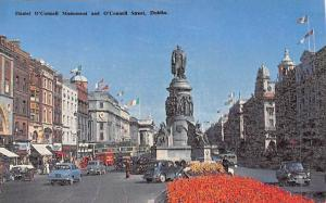 Ireland Dublin Daniel O'Connell Monument and O'Connell Street, Statue, Cars 1961
