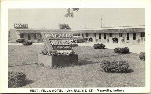 Postcard IN Westville West - Villa Motel Routes 6 & 421 Classic Car C.1950 M17