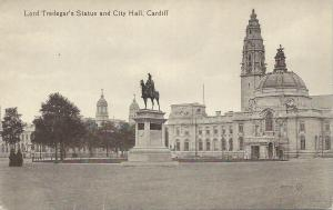 Lord Tredegar's Statue & City Hall, Cardiff, Wales, early postcard, Unused